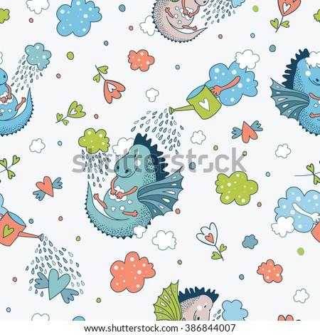 Cute funny vector seamless pattern. doodle baby shower cards, brochures, invitations animals, star, dragons, dinosaur, diamonds, cloud, rain drops, flowers. Cartoon  background. Child wallpaper. - stock vector