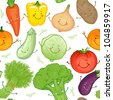 Cute funny vegetables vector seamless pattern - stock vector