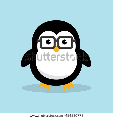 Cute Geek Penguin character with funny nerd glasses isolated on sky blue background. Flat design vector illustration. - stock vector