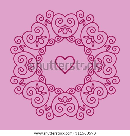 Cute geometric floral decorative frame in mono line style - stock vector