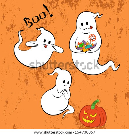Cute ghost set with grunge background. EPS 10 - stock vector