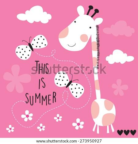 cute giraffe with butterflies vector illustration - stock vector