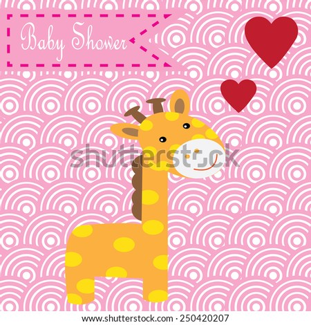 cute giraffe with flower baby shower card vector illustration - stock vector