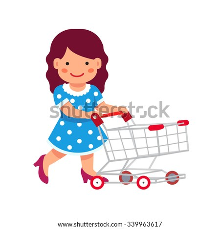 Cute girl dressed like a lady playing with supermarket shopping cart. Flat style vector illustration isolated on white background. - stock vector