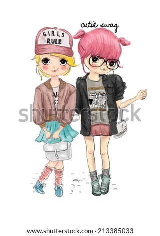 cute girl friend illustration - stock vector