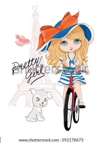 cute girl/girl vector/girl illustration/romantic girl/cute girl/T-shirt print/princess girl/girl sticker/pretty girl/little girl/girl print/girl pattern/beautiful girl/cartoon girl/paris girl - stock vector