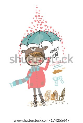 cute girl illustration with heart - stock vector