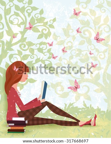 Cute girl is reading a book under tree with the stack of books. spring forest with butterflies  - stock vector