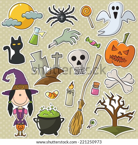 Cute girl like a witch with Halloween objects stickers set - stock vector
