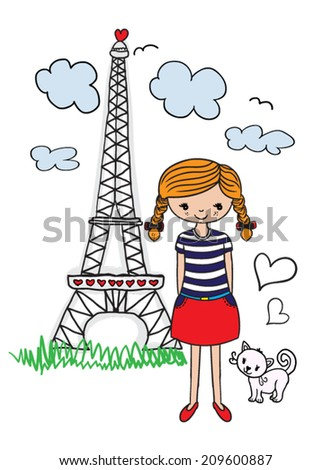 cute girl / marine-themed illustration girl / graphic design on summer vacation / a happy girl taking photos / T-shirt graphics / textile graphic/french girl/cat illustration - stock vector