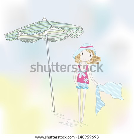 Cute girl on a seaside. Hand-drowing vector illustration. - stock vector