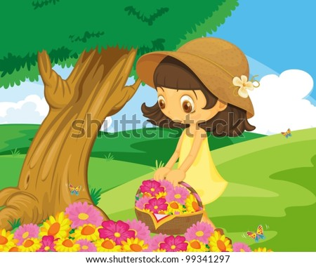 Cute girl picking flowers in the park - stock vector