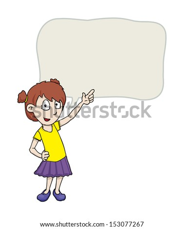 Cute girl pointing, with speech bubble, vector illustration - stock vector