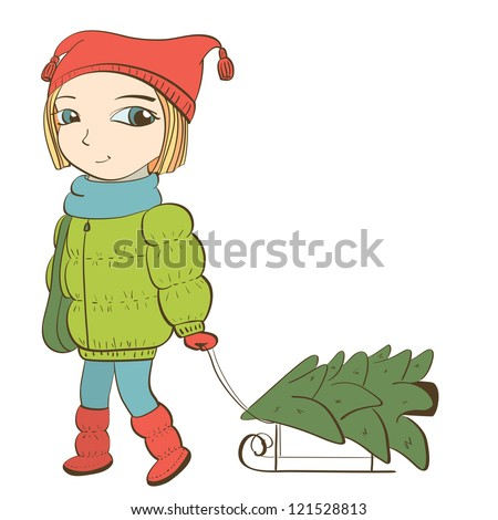 cute girl pulling sled with christmas tree. isolated on white. vector illustration - stock vector