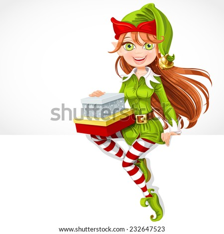Cute girl Santa elf with gifts sit on white banner - stock vector