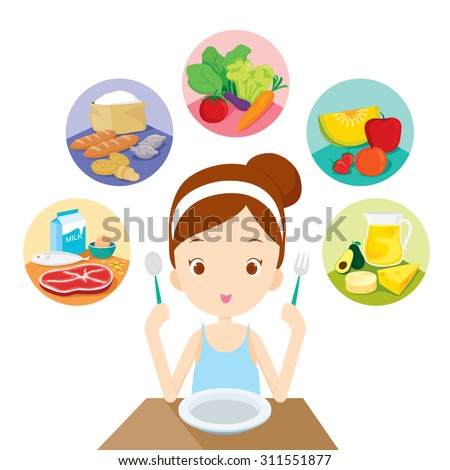 Cute girl sitting and ready to eat the 5 food groups, organic, nutrition, medicine, mental and physical health, category - stock vector