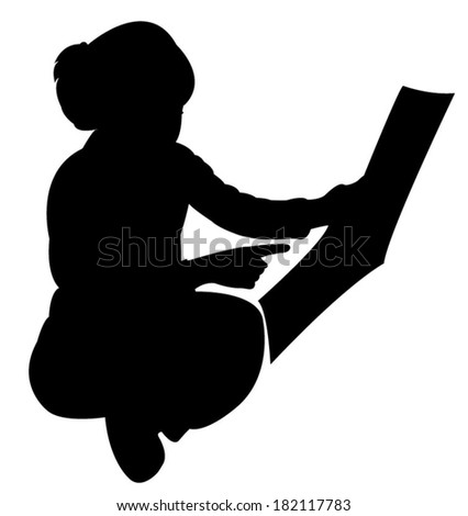 cute girl studying silhouette vector  - stock vector