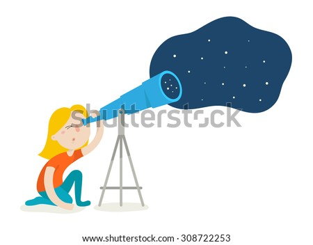 Cute girl watching through telescope on night starry sky. Flat design vector illustration isolated on white background - stock vector