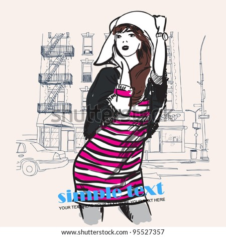 Cute girl wit hut on a city-background. Vector illustration. - stock vector