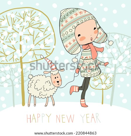 Cute girl with a sheep on winter background and Happy new year. Christmas card.  - stock vector