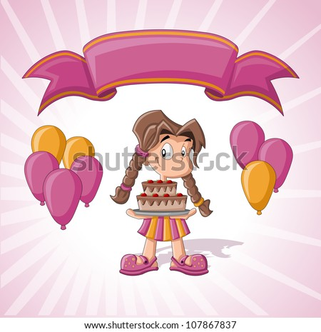 Cute girl with birthday cake, balloons and pink ribbon. Birthday party. - stock vector