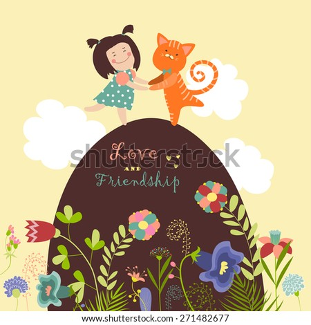 Cute girl with red cat. Vector illustration - stock vector