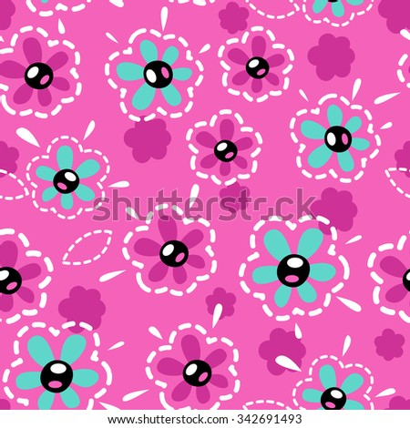 Cute girlish seamless pattern, vector texture for textile, web or typography design - stock vector