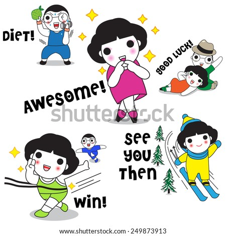 Cute Girls and Boys' Daily Life Character Expressions illustration set - stock vector