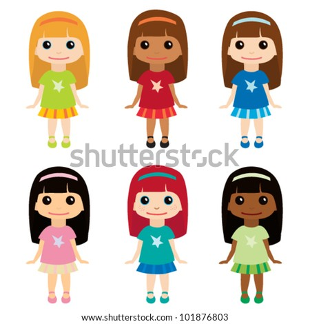 Cute girls set 2 - stock vector