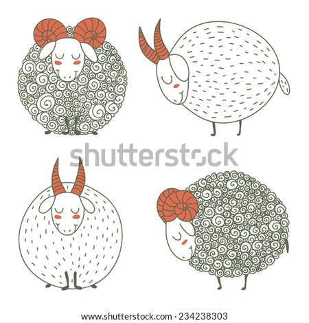 cute goats and sheep set for New Year 2015 - stock vector