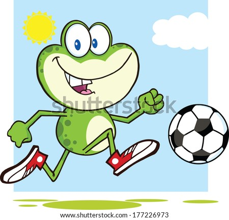 Cute Green Frog Cartoon Mascot Character Playing With Soccer Ball. Vector Illustration Isolated on white - stock vector