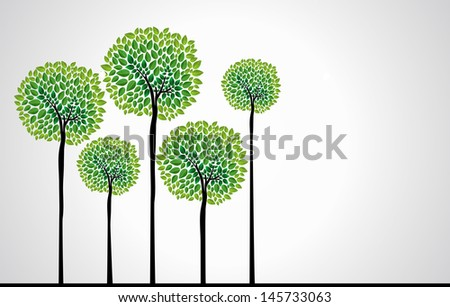 Cute green tree forest design. Vector file layered for easy edition.  - stock vector