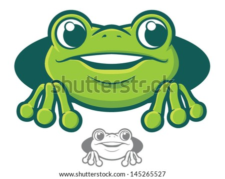 Cute green tree frog cartoon/Vector Frog Character Icon - stock vector