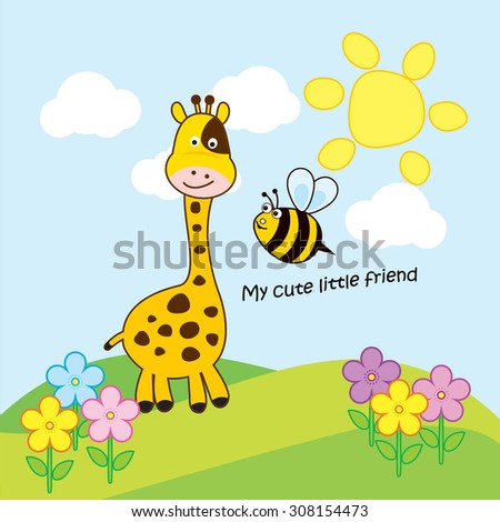 Cute Greeting Card With giraffe and bee  - stock vector