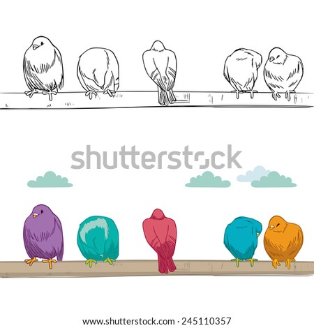 Cute group of birds of different color resting perched on branch grooming and cleaning - stock vector