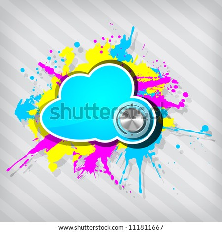 Cute grunge cloud computing icon frame with chrome volume on a stripped background - stock vector