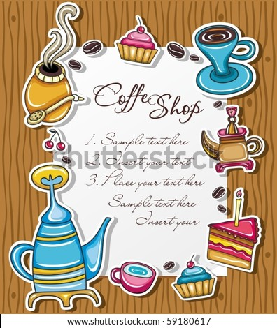 Cute grunge frame with coffee, tea, cake, yerba mate symbols, isolated on wooden background. - stock vector