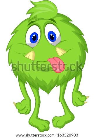 Cute hairy green monster - stock vector