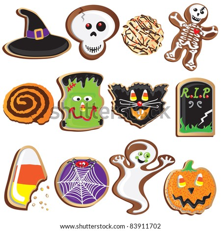 Cute Halloween Cookies Clipart Elements and Icons - stock vector
