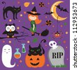 Cute Halloween icons set - stock vector