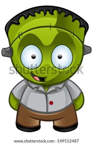 Cute Halloween Monster - Looking Happy - stock vector
