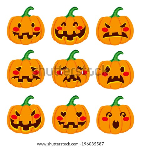 Cute Halloween pumpkin decoration making nine different funny face expressions - stock vector