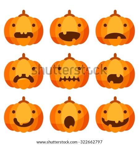 Cute Halloween pumpkin set - stock vector
