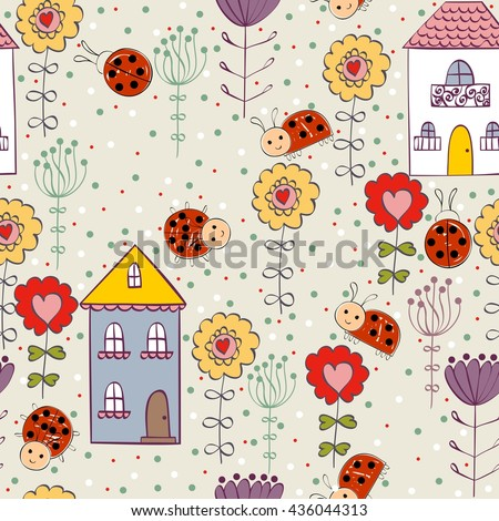 Cute hand draw seamless pattern for girl. - stock vector