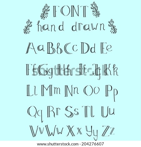 Cute hand drawn alphabet made in vector. ABC for your design. Easy to use and edit letters.  - stock vector