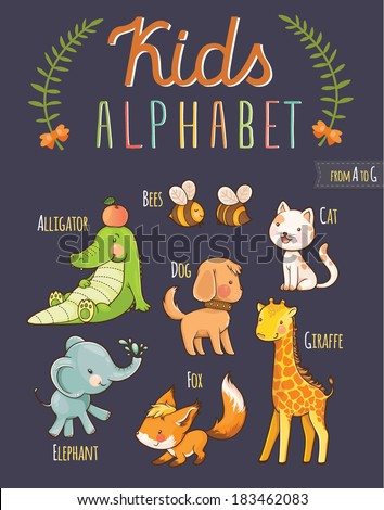 Cute hand drawn animal alphabet: letters from A to G - stock vector