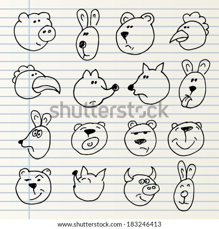 Cute hand drawn animal heads isolated on a notebook page - stock vector