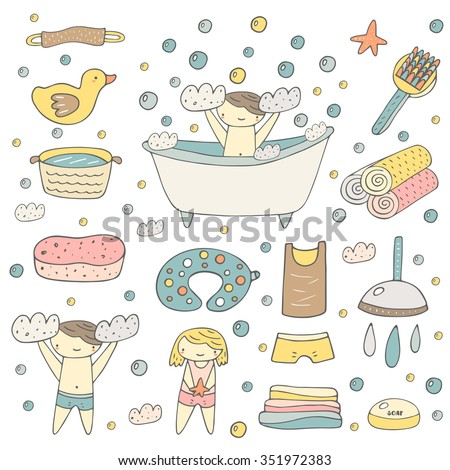 Cute hand drawn baby bathing objects collection including bath, foam, duck, soap, towel, t shirt, pants, shower, drops, sponge, air pillow, bubbles, washbowl. Girl and boy taking bath background - stock vector