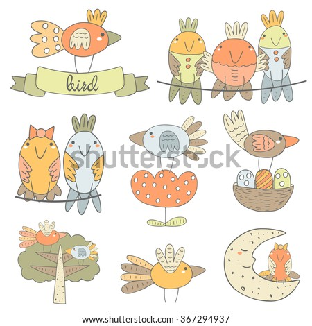Cute hand drawn birds collection including bird sitting on the ribbon, boy and girl bird, bird on the flower, bird on the moon, birds on the tree, flying bird, bird with nest. Funny characters set - stock vector