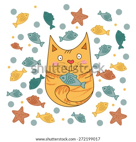 Cute hand drawn cat with colorful fish. - stock vector
